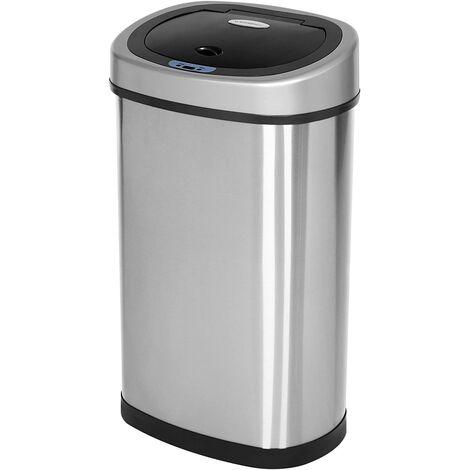 Sensor Mülleimer 50L Abfalleimer Automatik Abfallbehälter Müllbehälter für Küche Edelstahl LTB92NG - Silber