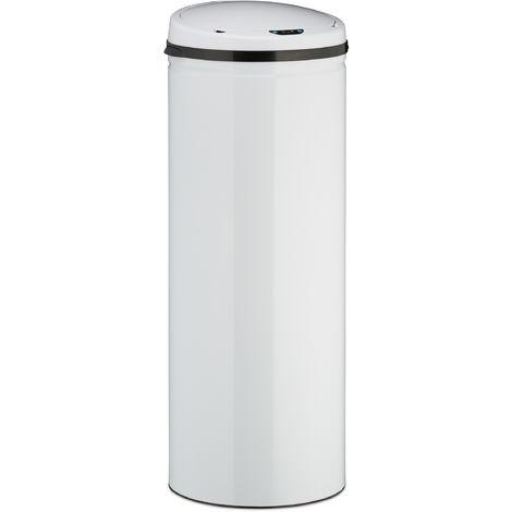 Sensor Mülleimer 50l, runder Edelstahl Abfalleimer, elektrischer Deckel, Automatik groß, HxD: 80 x 30 cm, weiß