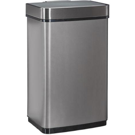 Sensor Mülleimer 60l, Abfalleimer, Küchenmülleimer aus Edelstahl, mit Bewegungssensor, batteriebetrieben, grau