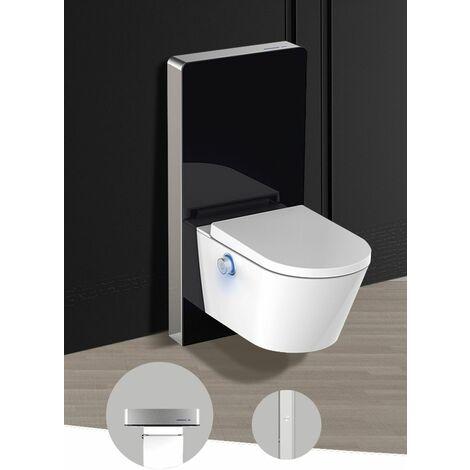 Sensor-Sanitärmodul für Wand-WC (Schwarzglas) - Schwarzglas