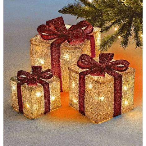 Sentik LED Christmas Parcels (Set of 3) Gold Light