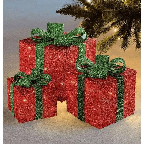 Sentik LED Christmas Parcels (Set of 3) Red