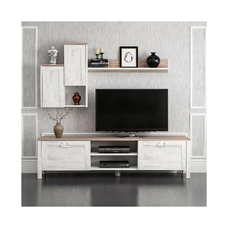 Homemania - Sento TV-Schrank - mit Tueren, Regal, Einlegeboeden - vom Wohnzimmer - Weiss, Nussbaum aus Holz, 160 x 35 x 42 cm
