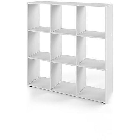 Separador de ambientes Blanco 9 compartimentos Librería Mueble de pared Estantería infantil Estantería de madera