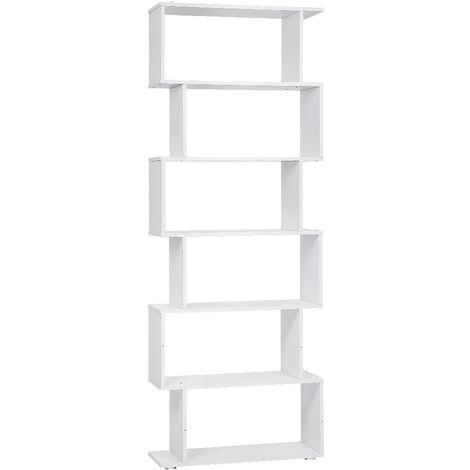 Separador de ambientes Estante de biblioteca Estante de oficina 6 compartimentos 70 * 24 * 190.5cm blanco