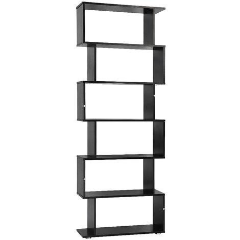 Separador de ambientes Estante de librería Estante de oficina 6 compartimentos 70 * 24 * 190.5cm negro