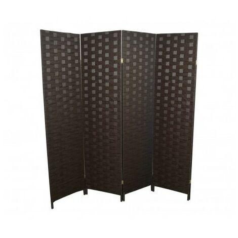 Separador de espacios plegable de 6 paneles, marrón oscuro,5 Paneles