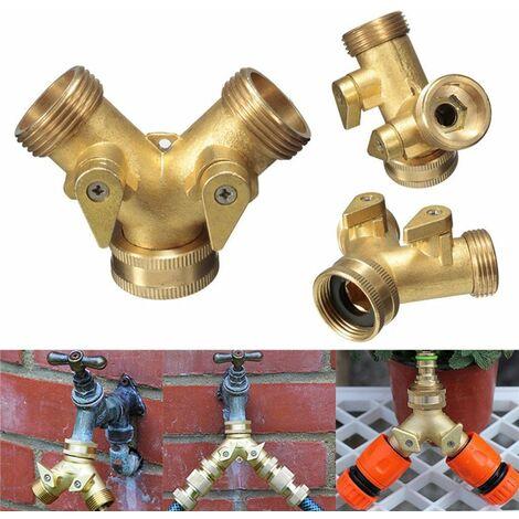Séparateur de tuyau d'adaptateur de connecteur de jardin de robinet à deux voies en laiton massif de 3/4 pouces