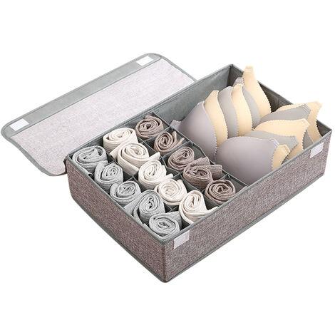 Séparateurs de tiroir pour organisateur de sous-vêtements 16 grilles avec couvercle Étui de rangement pliable pour sous-vêtements, chaussettes, cravates, soutiens-gorge, écharpes, etc., anti-poussière et durable, gris