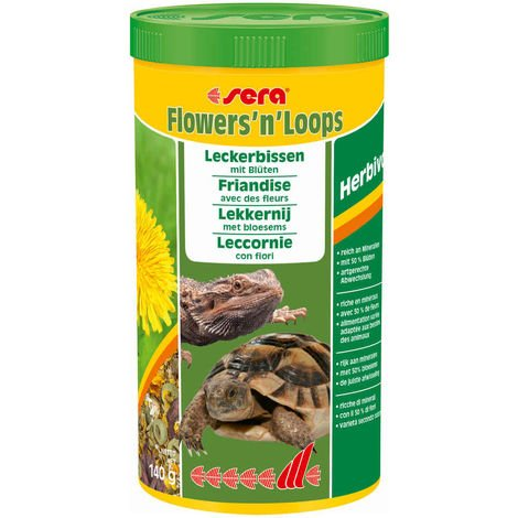 Sera - Friandises Flowers'n'Loops à base de Fleurs Sèches pour Reptiles Herbivores - 1L