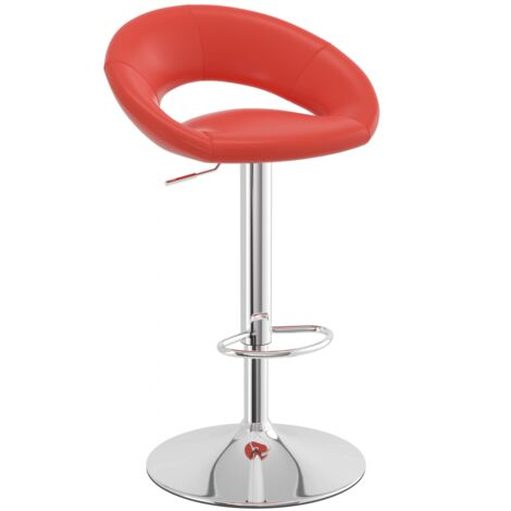 Serene Red Padded Kitchen Breakfast Bar Stool Height Adjustable Red