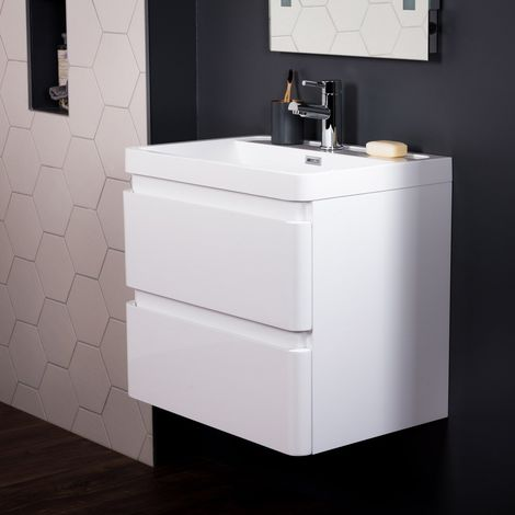 Serene White 600mm Wall Hung Vanity Unit & Basin