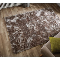 Serenity Super Soft Deep Pile Thick Shaggy Silky Rug Metallic Shine Carpet in Mink