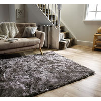 Serenity Super Soft Deep Pile Thick Shaggy Silky Rug Metallic Shine Carpet in Silver