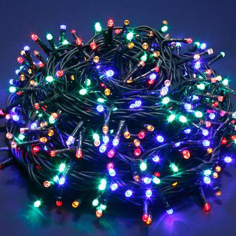 Serie de Luces de Navidad 240 de Luz LED Multicolor cable oscuro interior/exterior