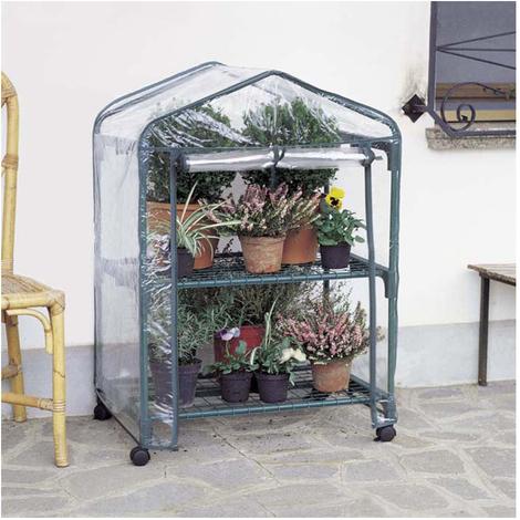 copertura in PVC Serra da giardino a 2 piani con struttura e ripiani in metallo