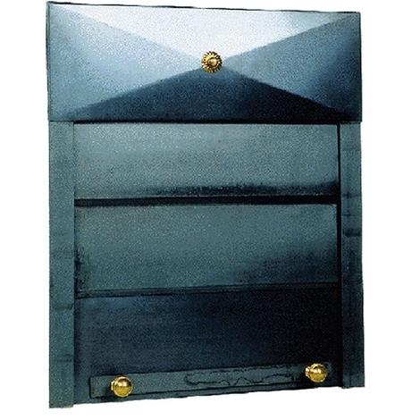Serranda porta per camino in ferro 60x70 cm con ornamenti in ottone