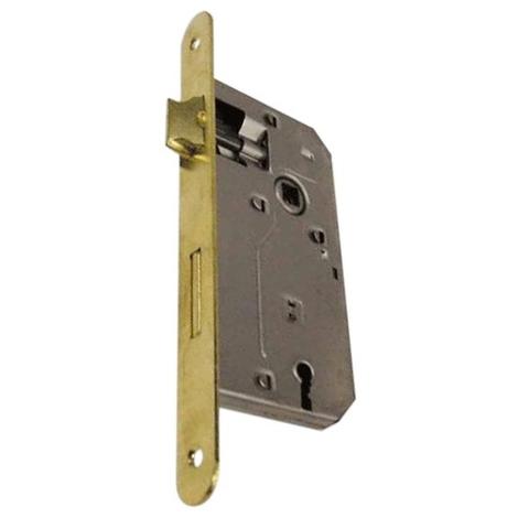 """main image of """"Serratura da Infilare Bordo Tondo Ottonato Patent Misura 30 mm Interasse 70 mm"""""""