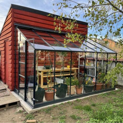 Serre adossée Prima 7,22m² en aluminium anthracite et verre trempé 4mm - Green Protect