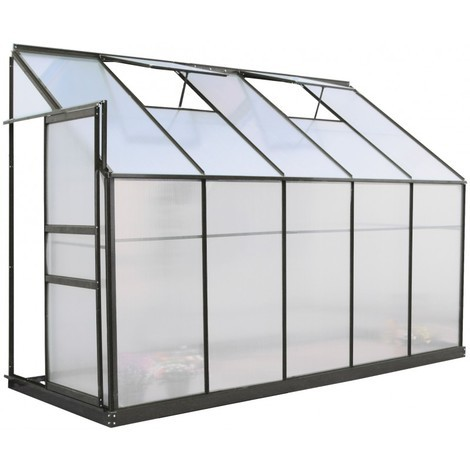 Serre adossée 3,9m² anthracite en polycarbonate 4mm + embase Green Protect