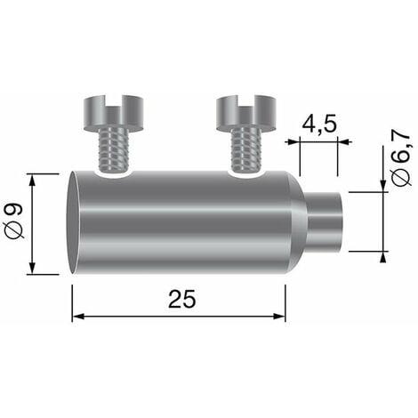 Diamètre Fil 5 mm LOT DE  10 Serre Cable plat 2 Boulons ACIER