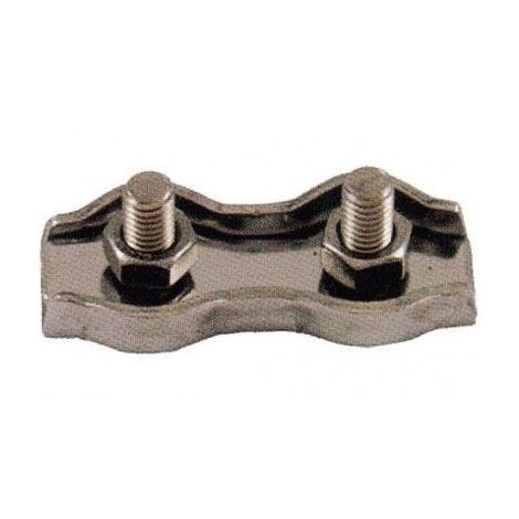 Serre-câble plat acier - 2 boulons - Diamètre : 8mm
