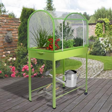 Serre de balcon verte avec housse de protection