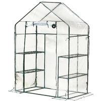 Serre de Jardin 143L x 73l x 195H cm 4 tablettes acier PE haute densité 140 g/m² anti-UV avec porte déroulante transparent vert