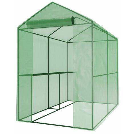 Serre de Jardin 2m² - bache armée - avec étagères et porte zipée Surface - Vert