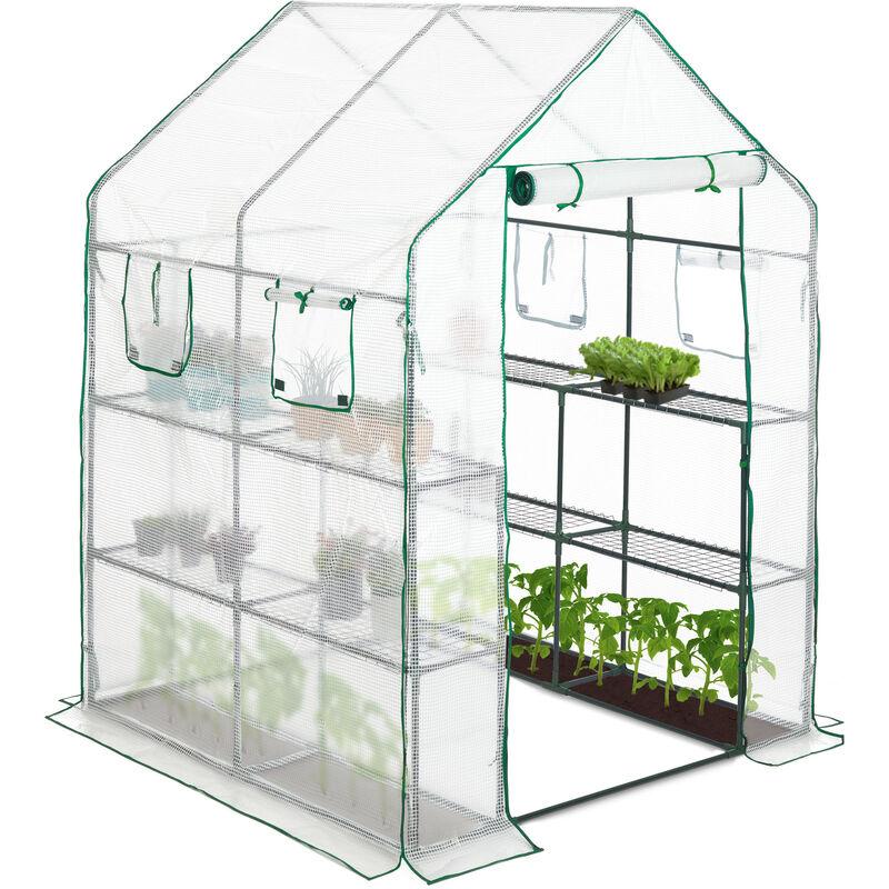 Serre de jardin 4 fenêtres serre tomates 2m² 2 étagères Tunnel Tente  plantes HxlxP: 190x140x140cm, transparent
