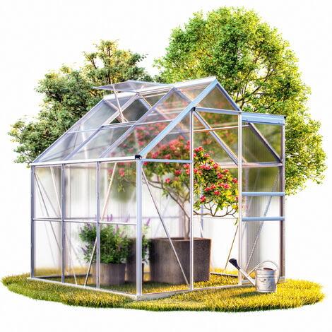 Serre de jardin 5,85m³ - 1 fenêtre et fondation en acier plantation jardinage