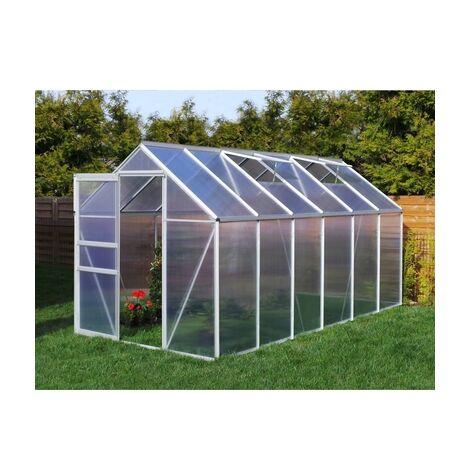 a136080bd3a0e Serre de jardin 7.03 m² en aluminium avec porte et fenêtre d aération -  190x370 cm - Plantiflex