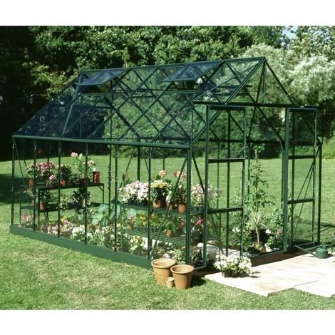 Serre de jardin 9,9m² verte en verre trempé Magnum - Halls - 70893