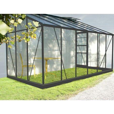 Serre de jardin adossée en aluminium laqué gris et verre trempé 7,22m² + embase
