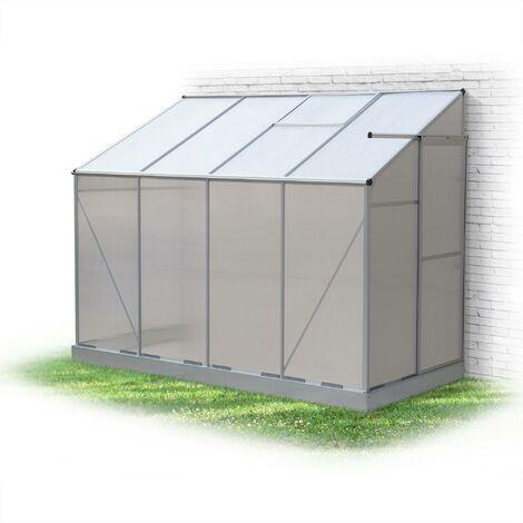 Serre de jardin adossée BUIS en polycarbonate 3m² avec base, 1 ...