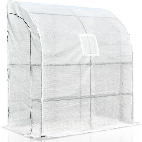 Serre de jardin adossée serre adossée dim. 2L x 1l x 2,15H m 4 étagères 2 portes zippées 1 fenêtre acier PE haute densité blanc
