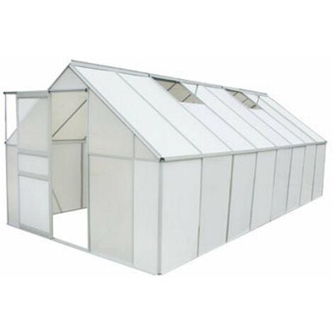 Serre de jardin aluminium et polycarbonate 12,25 m² 490 × 250 cm ...