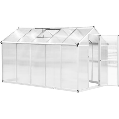 """main image of """"Serre de jardin aluminium polycarbonate 5,5 m² dim. 3,03L x 1,83l x 1,95H m fondation lucarne porte loquet"""""""