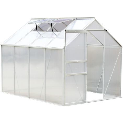 Serre de jardin aluminium polycarbonate 9,17 m³ 2,5L x 1,9l x 1,93H m avec fenêtres et porte coulissante