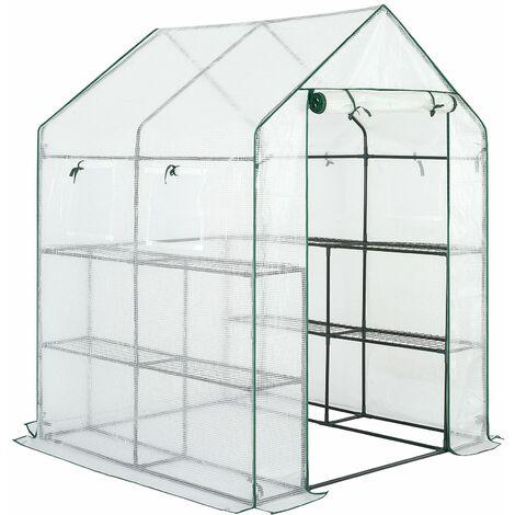Serre de jardin avec bâche polyéthylène 195x143x143cm serre 2 m² 4 fenêtres