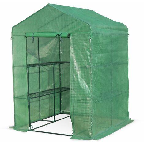 Serre de jardin Basilic 2m² avec 8 étagères en polyéthylène