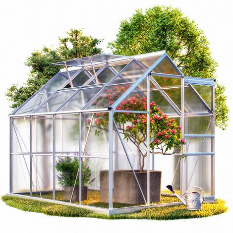 Serre de jardin en alu 7,6m³ avec 2 Fenêtres et une Gouttière + Fondation/Base