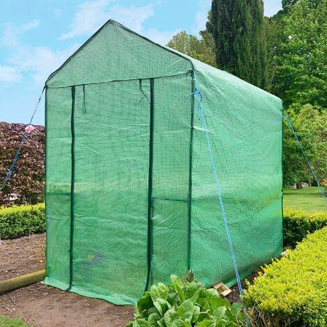 Serre de Jardin en Plastique - Serre Jardin avec étagères et fermeture à Zip - Tente Abri pour plante et culture ( Dimensions : 125 x 190 x 190 cm ) - Vert