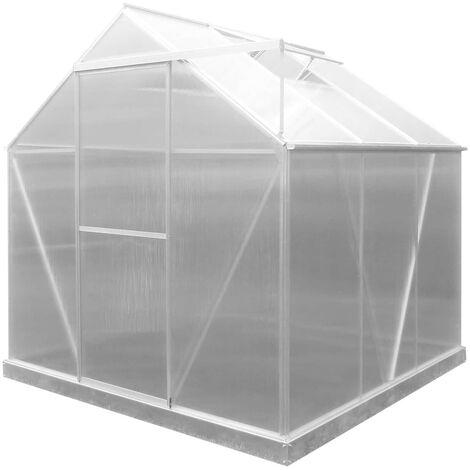Serre de Jardin en Polycarbonate/Aluminium Lunada - 3,63 m² 188x193x190 cm avec Base 3 Modules