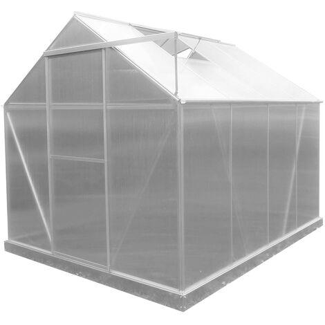 Serre de Jardin en Polycarbonate/Aluminium Lunada - 4,82 m² 249x193x190 cm avec Base 4 Modules