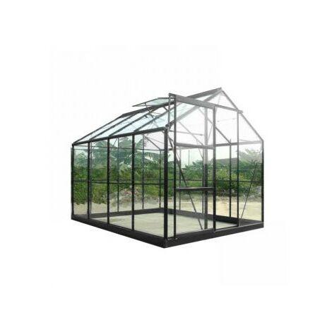 Serre de jardin en verre trempé SEKURIT 4 mm - 4,7 m² - Aluminium peint anthracite