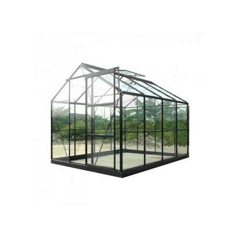 Serre de jardin en verre trempé SEKURIT 4 mm - 7,6 m² - Aluminium peint anthracite
