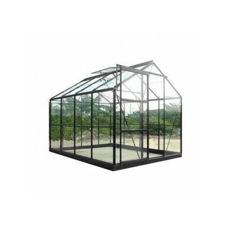 Serre de jardin en verre trempé SEKURIT 4 mm - 8,9 m² - Aluminium peint anthracite
