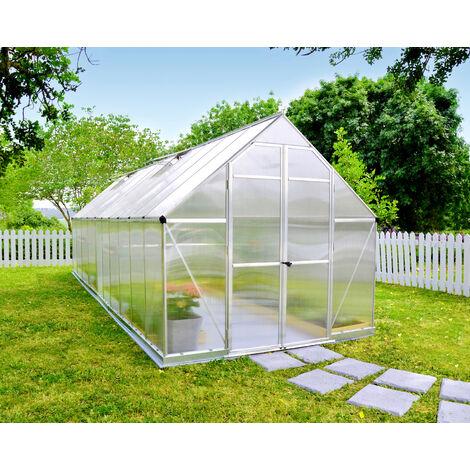 Serre de jardin ESSENCE 8x12 argent - 9m²