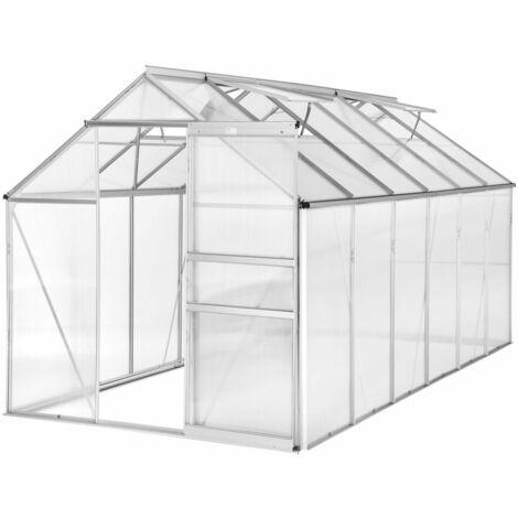 Serre de jardin jardinage outillage aluminium 375 x 185 x 195 cm - Noir